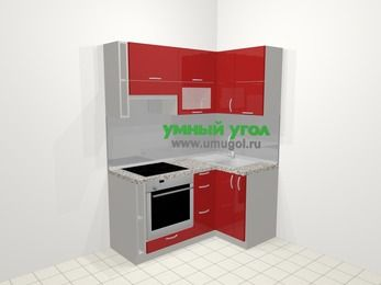 Угловая кухня МДФ глянец в современном стиле 5,0 м², 160 на 100 см, Красный, верхние модули 72 см, встроенный духовой шкаф
