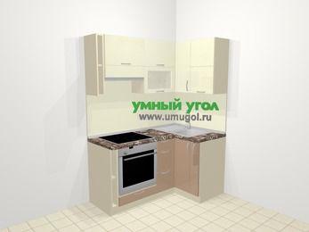 Угловая кухня МДФ глянец в современном стиле 5,0 м², 160 на 100 см, Жасмин / Капучино, верхние модули 72 см, встроенный духовой шкаф