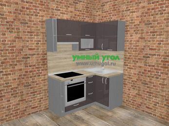 Угловая кухня МДФ глянец в стиле лофт 5,0 м², 160 на 100 см, Шоколад, верхние модули 72 см, встроенный духовой шкаф