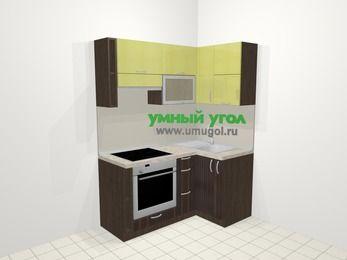 Кухни пластиковые угловые в современном стиле 5,0 м², 160 на 100 см, Желтый Галлион глянец / Дерево Мокка, верхние модули 72 см, встроенный духовой шкаф
