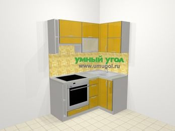 Кухни пластиковые угловые в современном стиле 5,0 м², 160 на 100 см, Желтый глянец, верхние модули 72 см, встроенный духовой шкаф