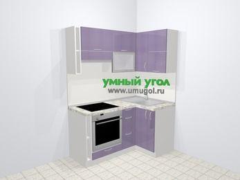 Кухни пластиковые угловые в современном стиле 5,0 м², 160 на 100 см, Сиреневый глянец, верхние модули 72 см, встроенный духовой шкаф