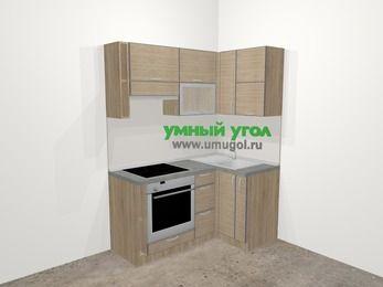Кухни пластиковые угловые в стиле лофт 5,0 м², 160 на 100 см, Чибли бежевый, верхние модули 72 см, встроенный духовой шкаф