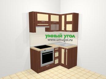Угловая кухня из рамочного МДФ 5,0 м², 160 на 100 см, Вишня темная / Крем, верхние модули 72 см, встроенный духовой шкаф