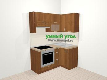 Угловая кухня из рамочного МДФ 5,0 м², 160 на 100 см, Орех, верхние модули 72 см, встроенный духовой шкаф