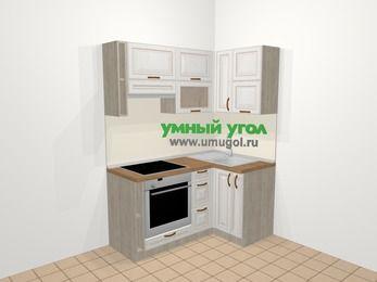 Угловая кухня МДФ патина в классическом стиле 5,0 м², 160 на 100 см, Лиственница белая, верхние модули 72 см, встроенный духовой шкаф