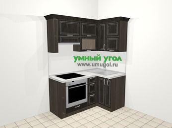 Угловая кухня МДФ патина в классическом стиле 5,0 м², 160 на 100 см, Венге, верхние модули 72 см, встроенный духовой шкаф