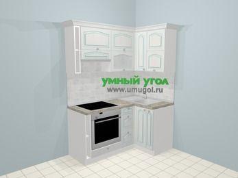 Угловая кухня МДФ патина в стиле прованс 5,0 м², 160 на 100 см, Лиственница белая, верхние модули 72 см, встроенный духовой шкаф