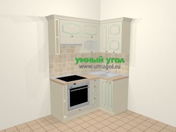 Угловая кухня МДФ патина в стиле прованс 5,0 м², 160 на 100 см, Керамик, верхние модули 72 см, встроенный духовой шкаф