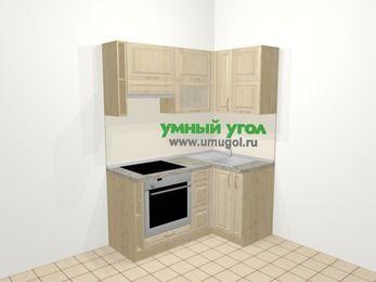 Угловая кухня из массива дерева в классическом стиле 5,0 м², 160 на 100 см, Светло-коричневые оттенки, верхние модули 72 см, встроенный духовой шкаф