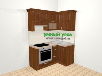 Угловая кухня из массива дерева в классическом стиле 5,0 м², 160 на 100 см, Темно-коричневые оттенки, верхние модули 72 см, встроенный духовой шкаф