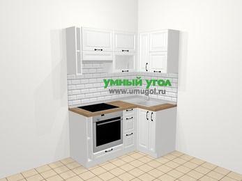 Угловая кухня из массива дерева в скандинавском стиле 5,0 м², 160 на 100 см, Белые оттенки, верхние модули 72 см, встроенный духовой шкаф