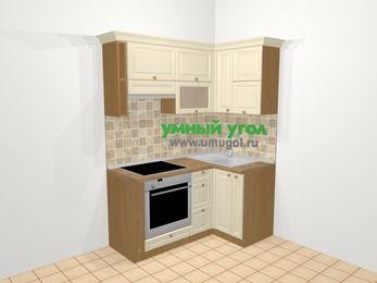 Угловая кухня из массива дерева в стиле кантри 5,0 м², 160 на 100 см, Бежевые оттенки, верхние модули 72 см, встроенный духовой шкаф