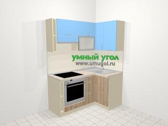 Угловая кухня из ЛДСП EGGER 5,0 м², 160 на 100 см, Голубой / Дуб, верхние модули 72 см, встроенный духовой шкаф