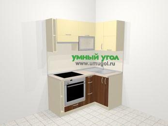 Угловая кухня из ЛДСП EGGER 5,0 м², 160 на 100 см, Ваниль / Орех, верхние модули 72 см, встроенный духовой шкаф