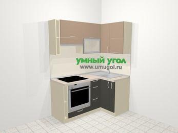Угловая кухня из ЛДСП EGGER 5,0 м², 160 на 100 см, Бежевый / Трюфель, верхние модули 72 см, встроенный духовой шкаф