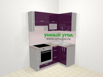 Угловая кухня МДФ глянец в современном стиле 5,0 м², 160 на 100 см, Баклажан, верхние модули 72 см, встроенный духовой шкаф