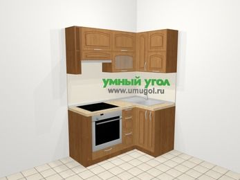 Угловая кухня МДФ патина в классическом стиле 5,0 м², 160 на 100 см, Ольха, верхние модули 72 см, встроенный духовой шкаф