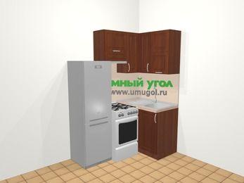 Угловая кухня МДФ матовый в классическом стиле 5,0 м², 160 на 100 см, Вишня темная, верхние модули 72 см, холодильник, отдельно стоящая плита