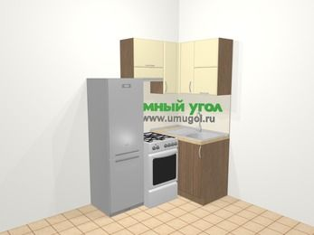 Угловая кухня МДФ матовый в современном стиле 5,0 м², 160 на 100 см, Ваниль / Лиственница бронзовая, верхние модули 72 см, холодильник, отдельно стоящая плита