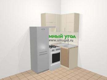 Угловая кухня МДФ матовый в современном стиле 5,0 м², 160 на 100 см, Керамик / Кофе, верхние модули 72 см, холодильник, отдельно стоящая плита