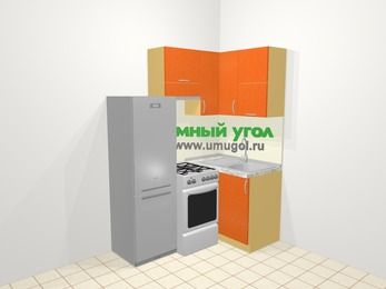 Угловая кухня МДФ металлик в современном стиле 5,0 м², 160 на 100 см, Оранжевый металлик, верхние модули 72 см, холодильник, отдельно стоящая плита