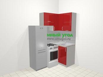 Угловая кухня МДФ глянец в современном стиле 5,0 м², 160 на 100 см, Красный, верхние модули 72 см, холодильник, отдельно стоящая плита