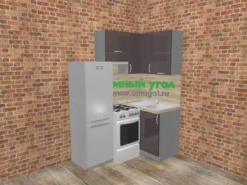 Угловая кухня МДФ глянец в стиле лофт 5,0 м², 160 на 100 см, Шоколад, верхние модули 72 см, холодильник, отдельно стоящая плита