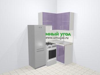 Кухни пластиковые угловые в современном стиле 5,0 м², 160 на 100 см, Сиреневый глянец, верхние модули 72 см, холодильник, отдельно стоящая плита