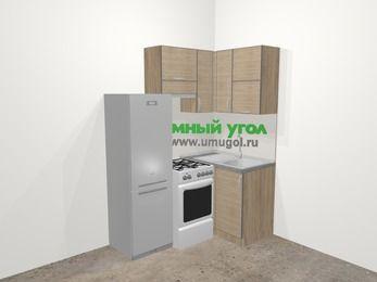 Кухни пластиковые угловые в стиле лофт 5,0 м², 160 на 100 см, Чибли бежевый, верхние модули 72 см, холодильник, отдельно стоящая плита