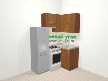 Угловая кухня из рамочного МДФ 5,0 м², 160 на 100 см, Орех, верхние модули 72 см, холодильник, отдельно стоящая плита