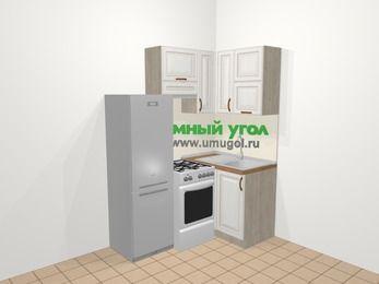 Угловая кухня МДФ патина в классическом стиле 5,0 м², 160 на 100 см, Лиственница белая, верхние модули 72 см, холодильник, отдельно стоящая плита