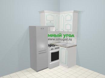 Угловая кухня МДФ патина в стиле прованс 5,0 м², 160 на 100 см, Лиственница белая, верхние модули 72 см, холодильник, отдельно стоящая плита