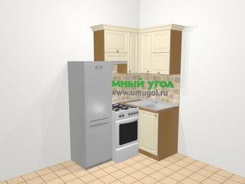 Угловая кухня из массива дерева в стиле кантри 5,0 м², 160 на 100 см, Бежевые оттенки, верхние модули 72 см, холодильник, отдельно стоящая плита