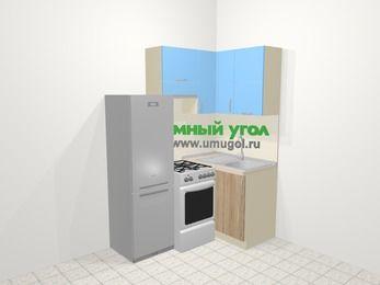 Угловая кухня из ЛДСП EGGER 5,0 м², 160 на 100 см, Голубой / Дуб, верхние модули 72 см, холодильник, отдельно стоящая плита