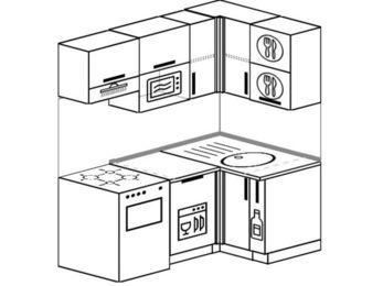 Угловая кухня 5,0 м² (1,6✕1,0 м), верхние модули 72 см, посудомоечная машина, верхний модуль под свч, отдельно стоящая плита