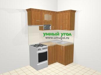 Угловая кухня МДФ матовый в классическом стиле 5,0 м², 160 на 100 см, Вишня, верхние модули 72 см, посудомоечная машина, верхний модуль под свч, отдельно стоящая плита