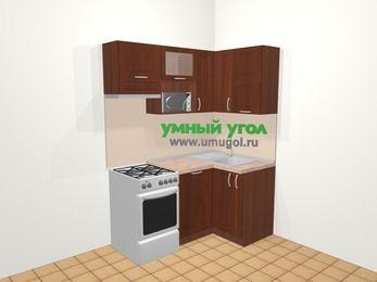 Угловая кухня МДФ матовый в классическом стиле 5,0 м², 160 на 100 см, Вишня темная, верхние модули 72 см, посудомоечная машина, верхний модуль под свч, отдельно стоящая плита