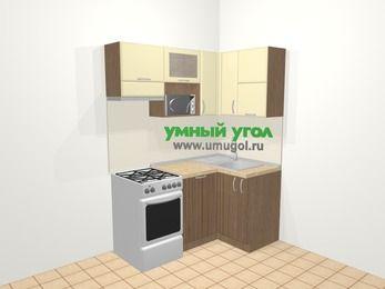 Угловая кухня МДФ матовый в современном стиле 5,0 м², 160 на 100 см, Ваниль / Лиственница бронзовая, верхние модули 72 см, посудомоечная машина, верхний модуль под свч, отдельно стоящая плита