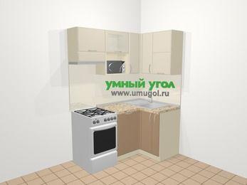 Угловая кухня МДФ матовый в современном стиле 5,0 м², 160 на 100 см, Керамик / Кофе, верхние модули 72 см, посудомоечная машина, верхний модуль под свч, отдельно стоящая плита