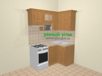Угловая кухня МДФ матовый в стиле кантри 5,0 м², 160 на 100 см, Ольха, верхние модули 72 см, посудомоечная машина, верхний модуль под свч, отдельно стоящая плита