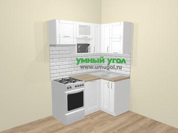 Угловая кухня МДФ матовый  в скандинавском стиле 5,0 м², 160 на 100 см, Белый, верхние модули 72 см, посудомоечная машина, верхний модуль под свч, отдельно стоящая плита
