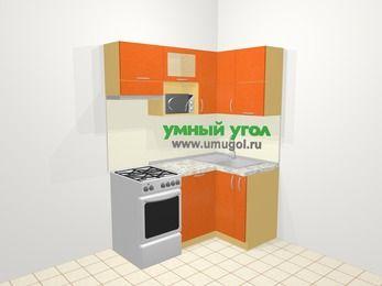 Угловая кухня МДФ металлик в современном стиле 5,0 м², 160 на 100 см, Оранжевый металлик, верхние модули 72 см, посудомоечная машина, верхний модуль под свч, отдельно стоящая плита
