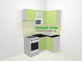 Угловая кухня МДФ металлик в современном стиле 5,0 м², 160 на 100 см, Салатовый металлик, верхние модули 72 см, посудомоечная машина, верхний модуль под свч, отдельно стоящая плита