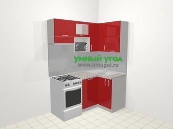 Угловая кухня МДФ глянец в современном стиле 5,0 м², 160 на 100 см, Красный, верхние модули 72 см, посудомоечная машина, верхний модуль под свч, отдельно стоящая плита