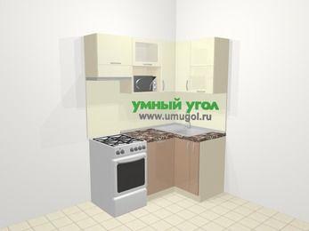 Угловая кухня МДФ глянец в современном стиле 5,0 м², 160 на 100 см, Жасмин / Капучино, верхние модули 72 см, посудомоечная машина, верхний модуль под свч, отдельно стоящая плита