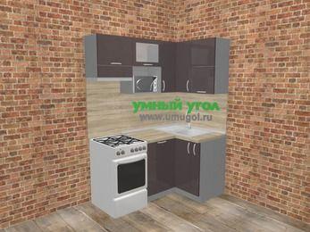 Угловая кухня МДФ глянец в стиле лофт 5,0 м², 160 на 100 см, Шоколад, верхние модули 72 см, посудомоечная машина, верхний модуль под свч, отдельно стоящая плита