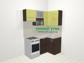 Кухни пластиковые угловые в современном стиле 5,0 м², 160 на 100 см, Желтый Галлион глянец / Дерево Мокка, верхние модули 72 см, посудомоечная машина, верхний модуль под свч, отдельно стоящая плита