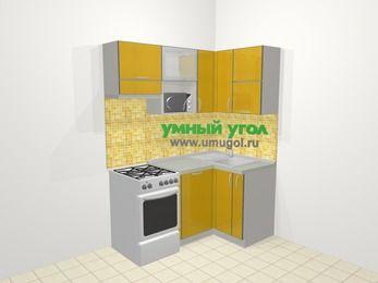 Кухни пластиковые угловые в современном стиле 5,0 м², 160 на 100 см, Желтый глянец, верхние модули 72 см, посудомоечная машина, верхний модуль под свч, отдельно стоящая плита