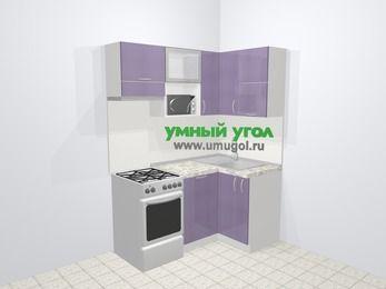 Кухни пластиковые угловые в современном стиле 5,0 м², 160 на 100 см, Сиреневый глянец, верхние модули 72 см, посудомоечная машина, верхний модуль под свч, отдельно стоящая плита